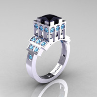 Modern Industrial 14K White Gold 1.23 CT Princess Black Diamond Blue Topaz Bridal Ring R316-14KWGBTBD