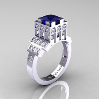 Modern Industrial 14K White Gold 1.23 CT Princess Blue Sapphire Diamond Bridal Ring R316-14KWGDBS