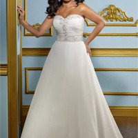 A-line Sweetheart natural waist applique 2012 Plus Size Wedding Dress WD2077