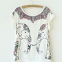 Symmetric Elephant Print Curling Short-sleeved Cotton T-shirt