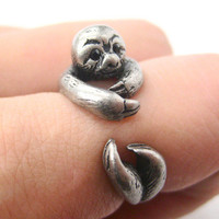 3D Sloth Animal Hug Wrap Ring in Silver - Sizes 5 to 10 from Dotoly