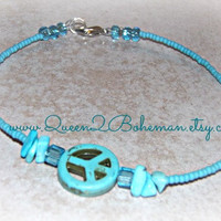 Turquoise Peace Anklet, Peace Sign, Hippie, Boho, Direct Checkout,