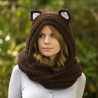 Cat Scarf, Brown Scoodie with Cat Ears, Hooded Scarf, Crochet Animal Hood