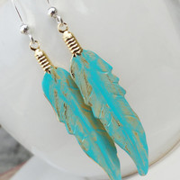 Long Turquoise Feather Earrings