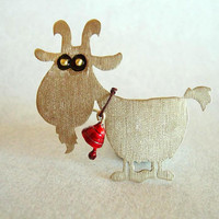 GOAT BROOCH , little animal brooch,summer brooch, Easter pin jewelry,handmade pin.