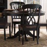 Ohana Round 48 in. Dining Table - Black &amp; Cherry | www.hayneedle.com