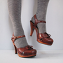 1970s platform brown leather high heels 8 by secretlake on Etsy