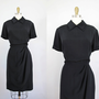 vintage black SILK short sleeve dress w/ layered by secretlake