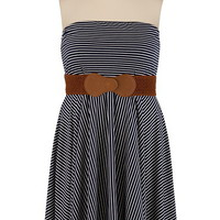 Belted Stripe Tube Dress