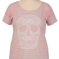 Cap Sleeve Lace Skull Print Tee
