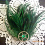 Steampunk Green Feather Clip