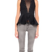 Deep V Studded Peplum - 2020AVE