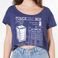 Tardis Blueprints Loose Crop Top american apparel