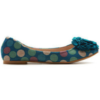 ollio Womens Bowed Canvas Pattern Shoe Ballet Flats Dot Flower  BLUE US 6.5