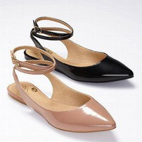 Ankle Wrap Pointed-toe Flat