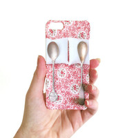 Spooning iPhone 5 Plastic Case. Sweet Gadget Accessory. Unique Gift, Vintage Spoons, Floral Pink