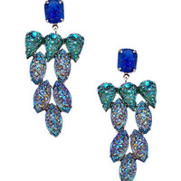 Yochi Silver and Blue Stone Cluster Earrings - Max & Chloe