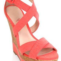 coral strappy platform wedge with cork wedge trim - 1000041029 - debshops.com