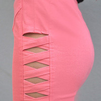 Pink Fitted Skirt with Criss Cross Cutout Side Detail