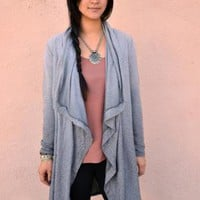 Grey Ombre Long Sleeve Draped Front Cardigan
