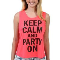 tulip back tank top with keep calm and party on screen print - 1000048141 - debshops.com