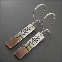 Mixed Metal Skinny Hill Tree Landscape Earrings