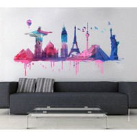 Watercolor world travel decal, 145 x 80 cm | 57.9 x 31.5 inches