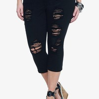 Torrid Denim - Black Destructed Cropped Sophia Skinny Jeans | Skinny
