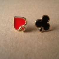 Cute Earrings Clubs and Spades by Bitsofbling on Etsy
