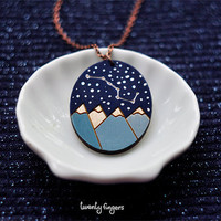 """Wood Laser cut Pendant starry sky with the constellation """"Ursa Major"""""""