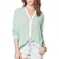 Paloma Chiffon Blouse in Mint - ShopSosie.com