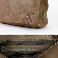 sepia brown leather messenger bag / huge & slouchy