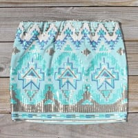 Native Clover Skirt in Mint, Women&#x27;s Sweet Bohemian Clothing