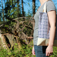 Cotton and canvas tote, geometric navy blue print