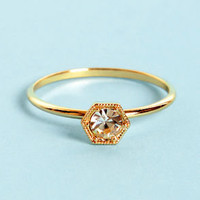 Hex-y and I Know It Gold Rhinestone Ring