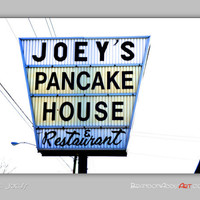 Vintage Kitchen Decor, Vintage Sign Photo, Kitchen Wall Decor, Joey's Pancake House, Lemon Yellow, Flapjacks, Retro Wall Decor