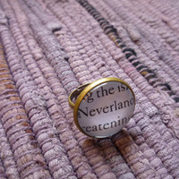 "Peter Pan Ring- ""Neverland"" Book Page Jewelry, Antique Bronze"