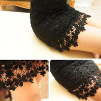 Sexy Hollow Out Lace Mini Skirt