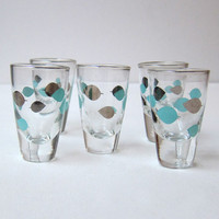 Vintage retro 1970s silver and aqua pattern modernist shot glasses