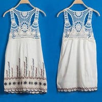 Lace hollow-out  flowers Vest