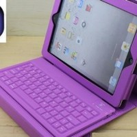 Accforcity Purple New Ipad3 , Ipad2 Case with Keyboard & Bluetooth , Leather Case for Apple New Ipad3 , Ipad 2