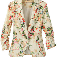 Apricot Long Ruched Sleeve Florals Print Blazer - Sheinside.com