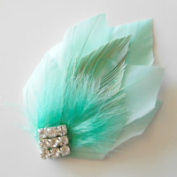 Great Gatsby Roaring 20s Art Deco Bridesmaid Head Piece Hairpiece Wedding Hair Accessories Wedding Hair Piece Mint
