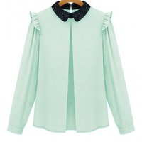Chiffon Blouse with Diamante Collar and Ruffle Shoulders