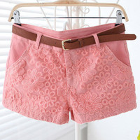 [grhmf2600071] EmbroideryLace Handmade Short With Belt