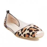 Transparent and Horsehair Flat Shoes with Leopard Print