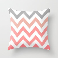 CORAL FADE CHEVRON Throw Pillow by natalie sales