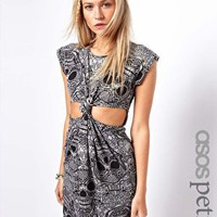 ASOS PETITE Exclusive Bodycon Dress In Skull Print With Knot Front at asos.com