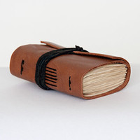 Reclaimed leather journal leather notebook travel journal travel notebook pocket journal pocket notebook, hand bound blank book brown