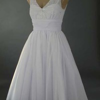 Style White Tulle Tea Length Party Dress-Informal Wedding Dress